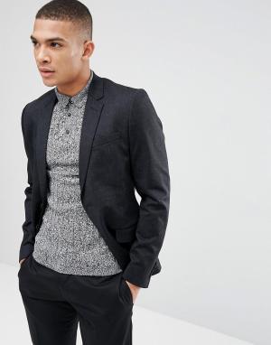 Темно-синий приталенный блейзер в крапинку New Look