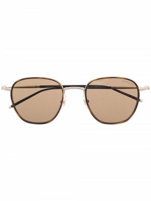 Солнцезащитные очки в квадратной оправе черепаховой расцветки Montblanc. Цвет: коричневый