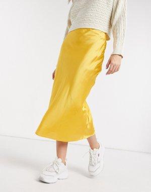 Желтая юбка косого кроя -Желтый Elvi