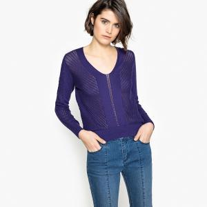 Пуловер с V-образным вырезом и длинными рукавами из тонкого ажурного трикотажа LA REDOUTE COLLECTIONS. Цвет: черный