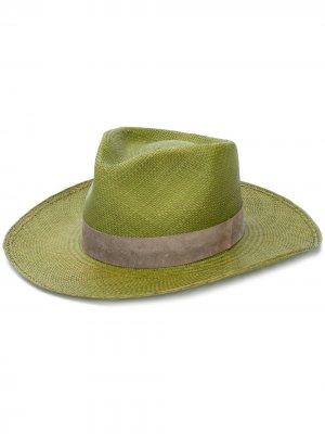 Плетеная шляпа-федора Super Duper Hats. Цвет: зеленый