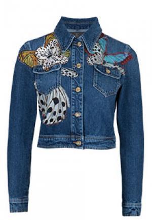 Джинсовая куртка ROBERTO CAVALLI. Цвет: синий