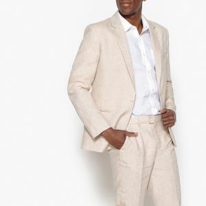 Пиджак костюмный узкий из льна и хлопка LA REDOUTE COLLECTIONS. Цвет: бежевый