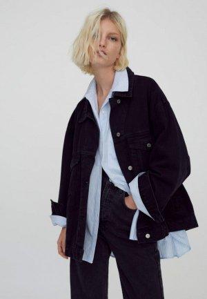 Куртка джинсовая Pull&Bear. Цвет: черный