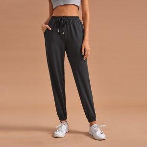 Домашние брюки на кулиске SHEIN. Цвет: серые