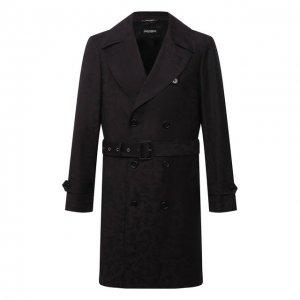 Шерстяной тренч Dolce & Gabbana. Цвет: чёрный