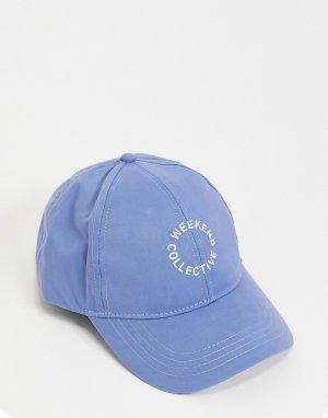 Голубая бейсболка с логотипом -Голубой ASOS Weekend Collective