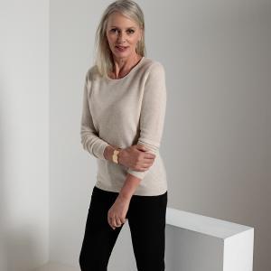 Пуловер с круглым вырезом, 100% кашемир ANNE WEYBURN. Цвет: бледно-розовый,светло-серый меланж,черный