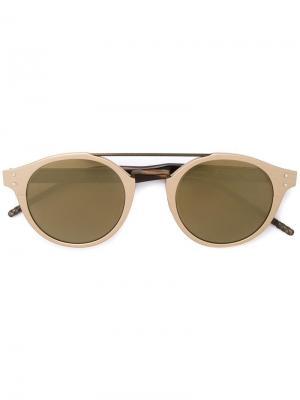 Солнцезащитные очки в круглой оправе Bottega Veneta. Цвет: металлический