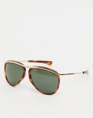 Солнцезащитные очки-авиаторы в черепаховой оправе Ray-ban ORB2219-Коричневый