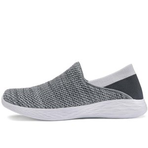 Противоскользящие вязаные спортивные туфли SHEIN. Цвет: серые