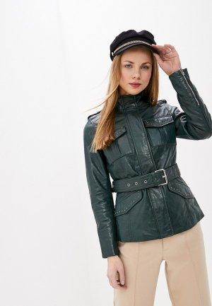 Куртка кожаная La Reine Blanche. Цвет: зеленый