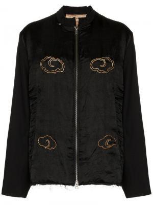 Куртка-бомбер с вышивкой и эффектом потертости By Walid. Цвет: черный