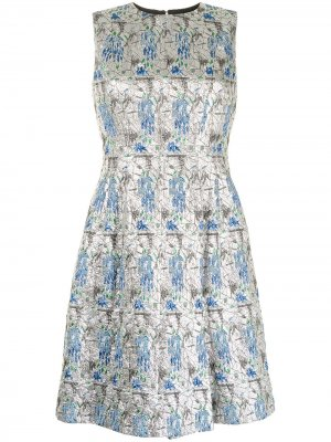 Платье pre-owned А-силуэта с узором Christian Dior. Цвет: серебристый