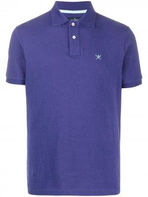 Рубашка-поло с логотипом Hackett. Цвет: синий
