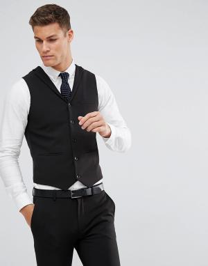 Черный приталенный жилет -Черный цвет ASOS DESIGN