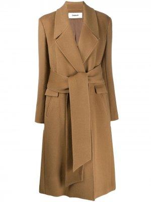 Пальто с запахом и поясом Chalayan. Цвет: коричневый
