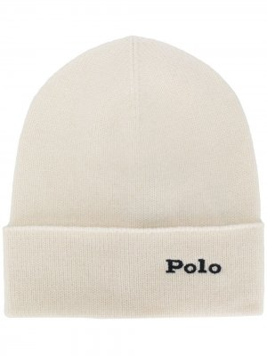Шапка бини с вышитым логотипом Polo Ralph Lauren. Цвет: белый