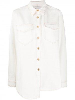 Джинсовая куртка асимметричного кроя Nanushka. Цвет: белый