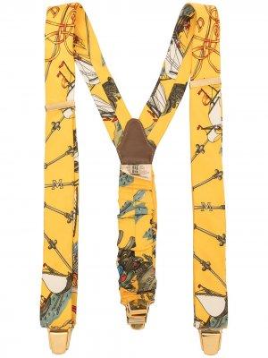 Подтяжки с логотипом Hermès. Цвет: желтый