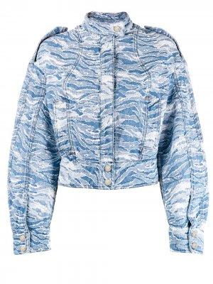Джинсовая куртка-бомбер с камуфляжным принтом Just Cavalli. Цвет: синий
