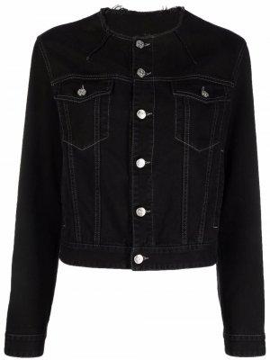 Джинсовая куртка с необработанным краем MM6 Maison Margiela. Цвет: черный