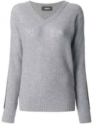 Пуловер с V-образным вырезом Jo No Fui. Цвет: серый