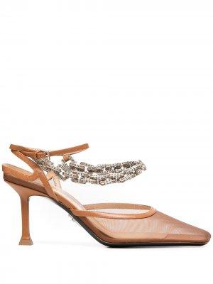 Туфли с квадратным носком и кристаллами Cesare Paciotti. Цвет: коричневый