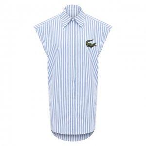 Хлопковая рубашка Lacoste. Цвет: синий