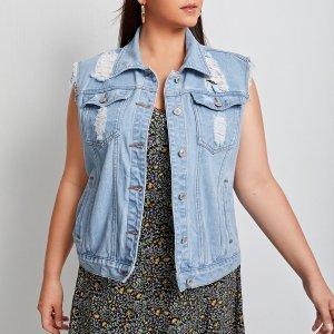Рваная джинсовая куртка размера плюс SHEIN. Цвет: легко-синий