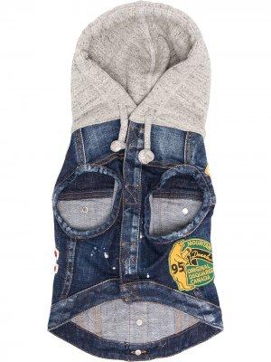 Куртка с капюшоном и джинсовыми вставками Dsquared2. Цвет: синий