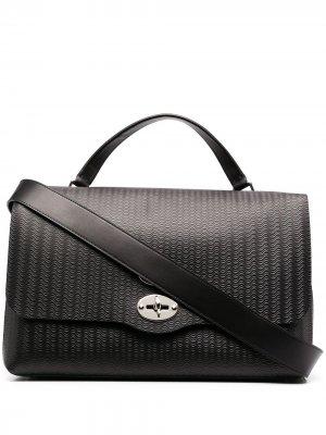 Embossed leather briefcase Zanellato. Цвет: черный