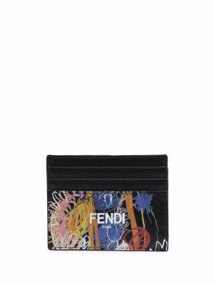 Картхолдер с абстрактным узором Fendi. Цвет: черный