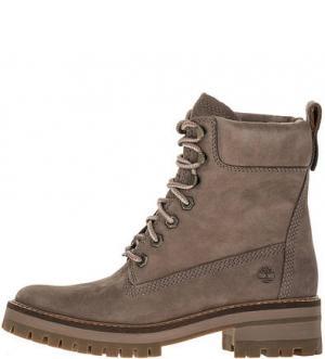 Высокие демисезонные ботинки из нубука Timberland. Цвет: серый