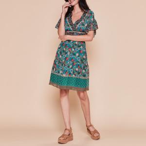 Платье с V-образным вырезом, FLORIN DERHY. Цвет: зеленый/рисунок