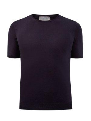 Однотонная футболка-джемпер из гладкого хлопка GRAN SASSO. Цвет: черный