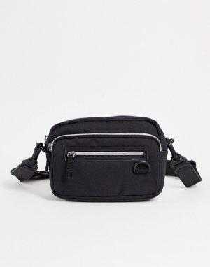 Черная нейлоновая прямоугольная сумка через плечо с несколькими карманами -Черный цвет ASOS DESIGN