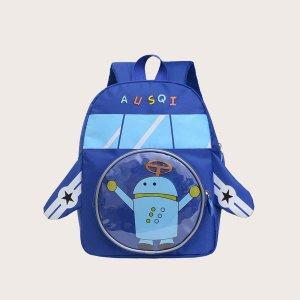 Детский рюкзак с принтом робота в форме самолета SHEIN. Цвет: синий