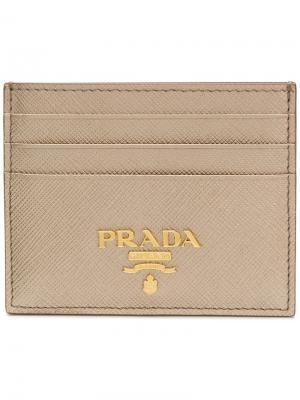 Футляр для карт Prada. Цвет: металлик
