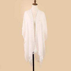 Однотонный платок-шаль SHEIN. Цвет: белый