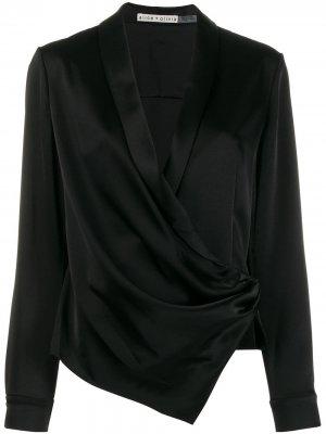 Блузка с запахом и V-образным вырезом Alice+Olivia. Цвет: черный