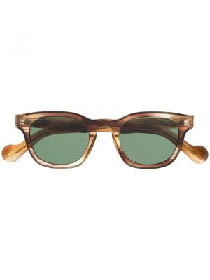Солнцезащитные очки в прямоугольной оправе Moncler Eyewear. Цвет: коричневый