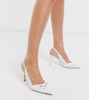 Белые остроносые туфли на высоком каблуке с ремешком через пятку -Белый Dune