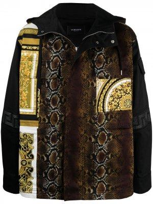 Куртка со вставками Versace. Цвет: черный