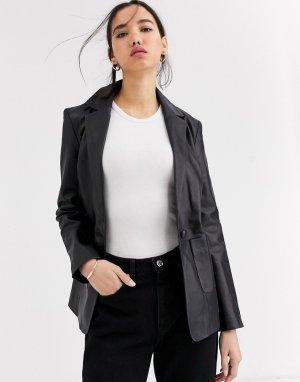Кожаная куртка в стиле пиджака -Черный Muubaa