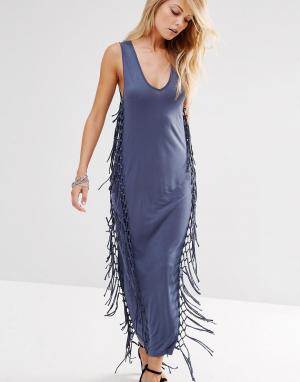 Платье-майка макси с бахромой по бокам Religion. Цвет: синий