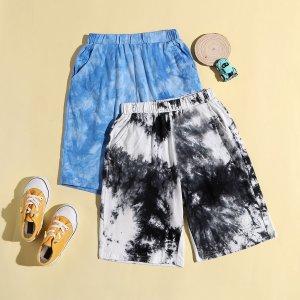 2 пары спортивные шорты для мальчиков с принтом тай-дай SHEIN. Цвет: многоцветный
