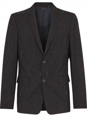 Пиджак в тонкую полоску Fendi. Цвет: черный
