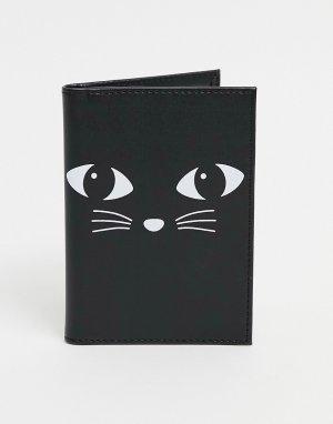 Обложка для паспорта с дизайном «Кот» -Черный цвет Sass & Belle