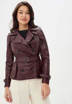 Куртка кожаная Izabella. Цвет: бордовый